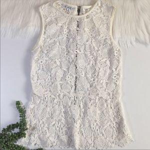 Cabi Lace Crochet Sleeveless Top | Size Small